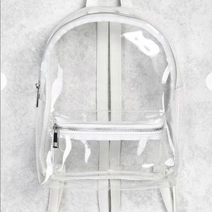 Faux leather trim clear backpack